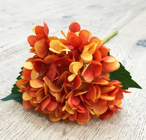 Artificial Hydrangea Stem - Orange