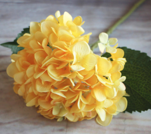 Artificial Hydrangea Stem - Yellow