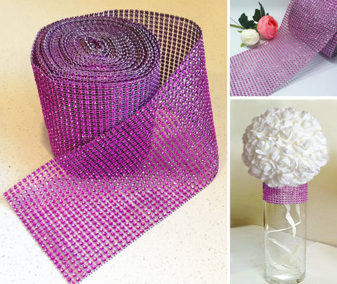 Faux Diamante Mesh Roll - PINK