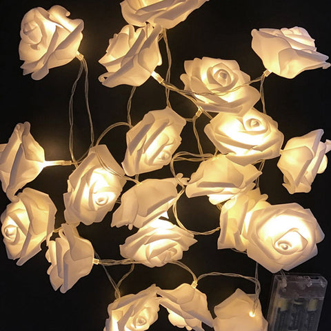 2m LED Rose Light String - Warm White