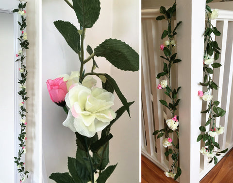 Artificial Cottage Rose Garland