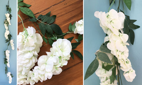 Artificial White Wisteria Garland 1.8m