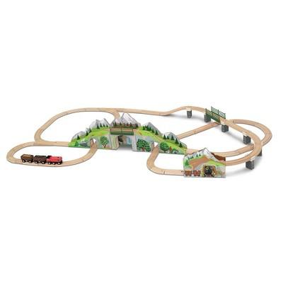 Melissa & Doug® Mountain Tunnel Train Set With 2 Tunnels, Sound Effects, Magic Mine Cars (64pc)
