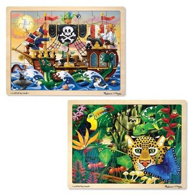 Melissa & Doug® Wooden Jigsaw Puzzles Set - Rainforest Animals and Pirate Ship 2pc