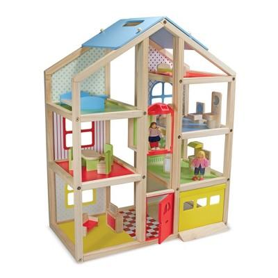 Melissa & Doug Hi-Rise Wooden 15pc Dollhouse with Furniture, Garage and Working Elevator