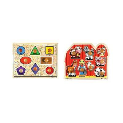 Melissa & Doug® Jumbo Knob Wooden Puzzles - Shapes and Farm Animals 2pc