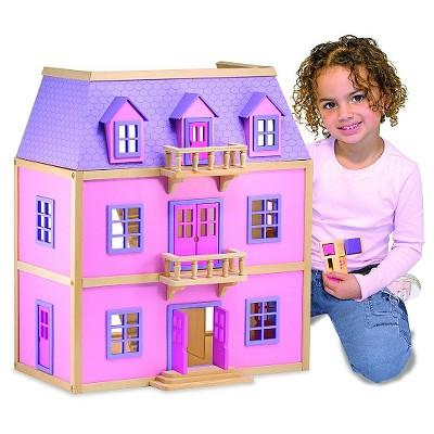 Melissa & Doug® Multi-Level Wooden Dollhouse With 19pc Furniture