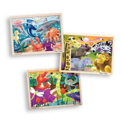 Melissa & Doug® 3-Puzzle Jigsaw Set - Dinosaurs, Ocean, and Safari