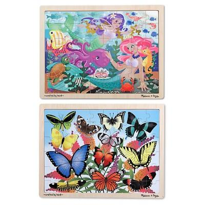 Melissa & Doug® Wooden Jigsaw Puzzle Set - Mermaids and Butterflies 96pc