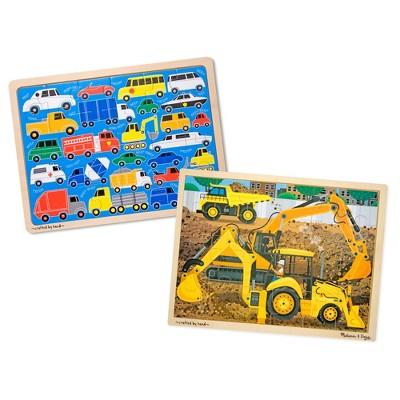 Melissa & Doug® Vehicles Wooden Jigsaw Puzzles Set - Beep Beep Cars and Construction 24pc each, 48pc