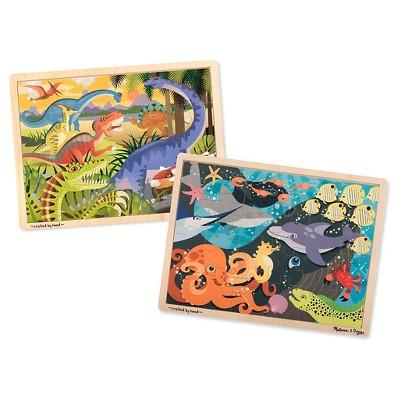 Melissa & Doug® Animals Wooden Jigsaw Puzzles Set - Ocean Pals and Dinosaurs 24pc each, 48pc
