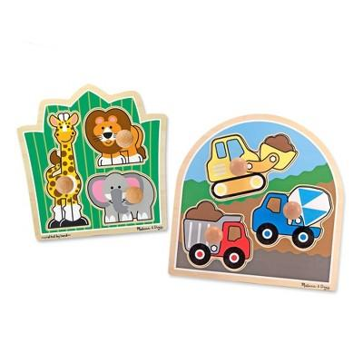 Melissa & Doug® Jumbo Knob Wooden Puzzles Set - Construction and Safari 6pc