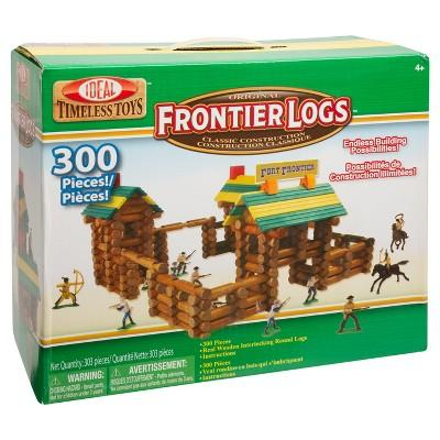 Ideal Frontier Logs Classic All Wood Construction Set with Action Figures - 300 Piece