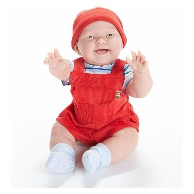 "JC Toys 18"" Boy Doll with Red Overalls and Striped Shirt - Nico"