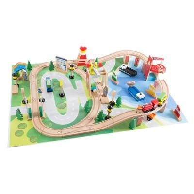 Hey! Play! Kids Deluxe Wooden Train Set with Play Mat