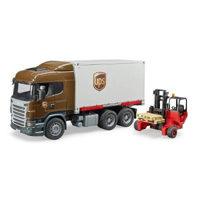 Bruder Toys Scania R-Series UPS Logistics Truck with Forklist - 1:16 Scale