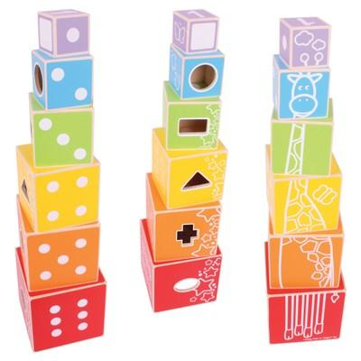 Bigjigs Toys Stacking Cubes Wooden Developmental Toy