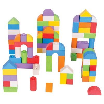 Bigjigs Toys Wooden Click Blocks Building Set - Colored Wood (100pc)