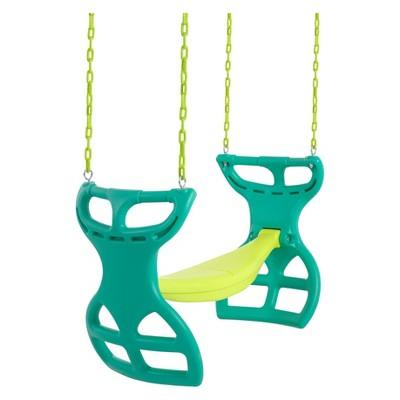 Swingan Two Seater Glider Swing - Green/Yellow