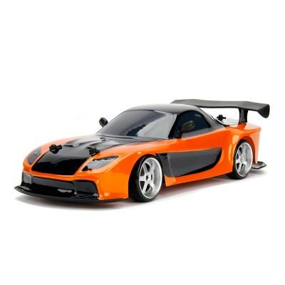 Jada Toys Fast & Furious Elite Drift RC 1993 Mazda RX-7 Remote Control Vehicle 1:10 Scale Orange