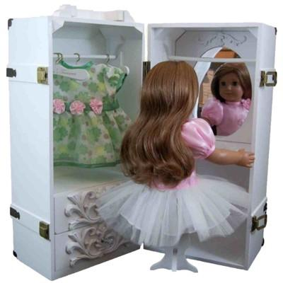 The Queen's Treasures® 18 Inch Doll Furniture, White Clothing Storage Trunk, Vanity, 4 Hangers Fits 2 Dolls