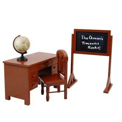 The Queen's Treasures® 18 Inch Doll Furniture & Accessory, School Teachers Desk, Chair, Chalk Board,Globe