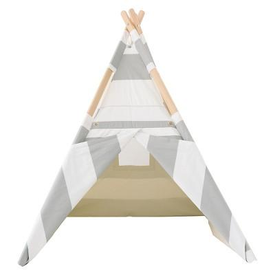 Striped Teepee - Gray and White - Tnee's Tpees
