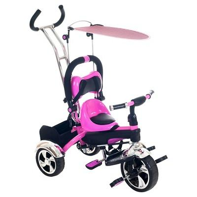 Lil' Rider 2 in 1 Stroller Tricycle - Child Safe Trike Trainer - Pink