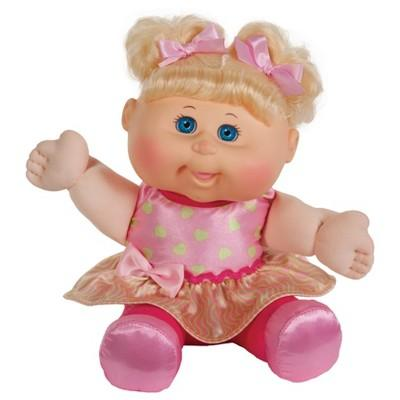 "12"" Cabbage Patch Sitting Pretty Blonde Doll - Purple Heart Dress"
