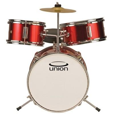 Union UT3 3pc Toy Drum Set with Cymbal and Throne - Metallic Red