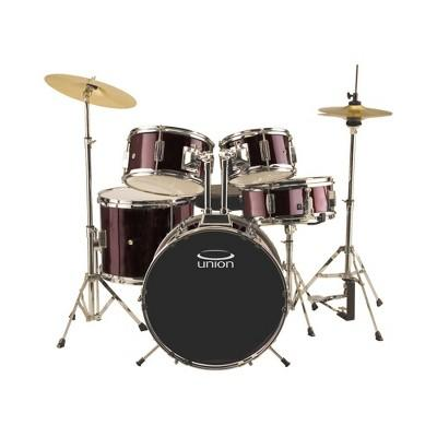 Union - UJ5 5pc Junior Drum Set with Hardware, Cymbals, and Throne - Wine Red
