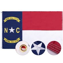 Load image into Gallery viewer, FLAGBURG North Carolina Flag 3x5ft, NC State Flag, The Old North State Flag with Heavy Duty Embroidered Stars Outdoor Indoor All Weather 210D Nylon Burgee Flag with Strong Canvas Header/Brass Grommets