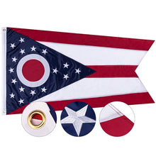 Load image into Gallery viewer, FLAGBURG Ohio State Flag 3x5 ft, OH Flag 5x3ft, The Buckeye State Flag with Heavy Duty Embroidered Stars Outdoor Indoor All Weather 210D Nylon Burgee Flag with Strong Canvas Header/Brass Grommets