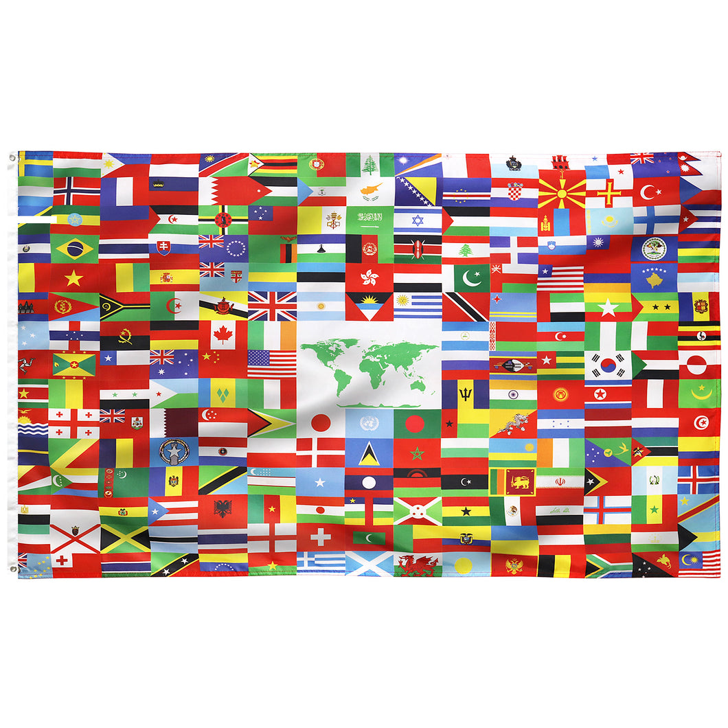 FLAGBURG World Flag Banner, International Global Unity Flags Banner 216 Country with Vivid Color (One Side), Double Stitched, Canvas Header, Flag of The World with Brass Grommets