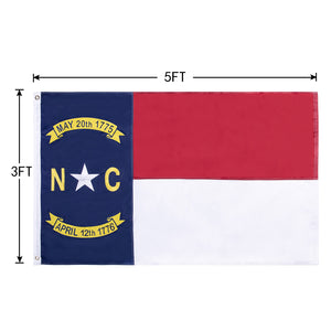 FLAGBURG North Carolina Flag 3x5ft, NC State Flag, The Old North State Flag with Heavy Duty Embroidered Stars Outdoor Indoor All Weather 210D Nylon Burgee Flag with Strong Canvas Header/Brass Grommets