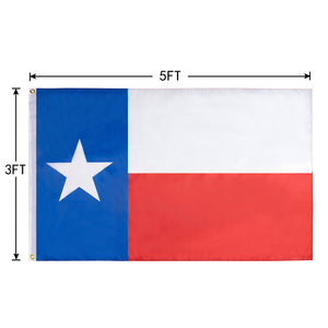 FLAGBURG Texas Flag TX State Flag 5x8 FT, Lone Star Flag with Print Vivid Color and UV Fade Resistant, Canvas Header and Double Stitched,Light-Weighted Flags with Brass Grommets