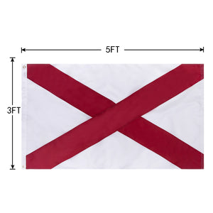 FLAGBURG Alabama State Flag 3x5 FT, AL State Flags with Sewn Stripes (Not Print), Canvas Header & Brass Grommets, 100% High-Grade Outdoor Bama State Nylon Flag for All-Weather Outdoor Display