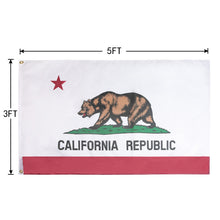 Load image into Gallery viewer, FLAGBURG California State Flag 5x8 ft, California Republic State Flag with Print Vivid Color and UV Fade Resistant, Canvas Header and Double Stitched,Outdoors Indoors CA Flag with Brass Grommets
