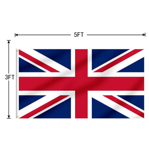 FLAGBURG United Kingdom Flag 5x8 Ft,UK Flags Durable Union Jack Flag with Print Vivid Color and UV Fade Resistant, Canvas Header and Double Stitched,Outdoors Indoors Flags with Brass Grommet