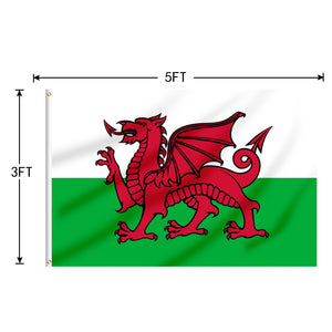 FLAGBURG Wales Flag 5x8 FT,The Red Dragon Flag with Print Vivid Color and UV Fade Resistant, Canvas Header and Double Stitched,Outdoors Indoors Light-Weight Flags with Brass Grommets