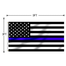 Load image into Gallery viewer, FLAGBURG Thin Blue Line Flag, U.S. Flag with Thin Blue Line  with Print Vivid Color and UV Fade Resistant, Canvas Header and Double Stitched, Fallen Officer Flags with Brass Grommets