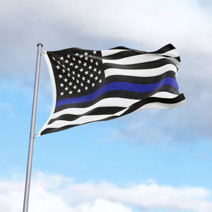 FLAGBURG Thin Blue Line Flag, U.S. Flag with Thin Blue Line  with Print Vivid Color and UV Fade Resistant, Canvas Header and Double Stitched, Fallen Officer Flags with Brass Grommets