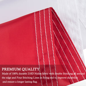 FLAGBURG Denmark Flag 3x5 FT, Danish Flags with Sewn Stripes (Not Print), Canvas Header & Brass Grommets, Vivid Color, Triple Stitching, 100% High-Grade Dannebrog for All-Weather Outdoor Display