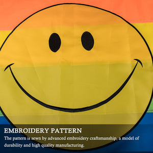 FLAGBURG Rainbow Smiley Face Flag with Sewn Stripes, LGBTQ Flags 3x5 FT, Pride Flag with Brass Grommets, Vibrant Color, Embroidery Pattern, UV Fade Resistant, Gay Lesbian Flag for Peace/Equality/Pride