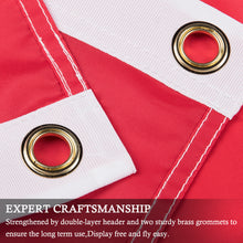 Load image into Gallery viewer, FLAGBURG Denmark Flag 3x5 FT, Danish Flags with Sewn Stripes (Not Print), Canvas Header & Brass Grommets, Vivid Color, Triple Stitching, 100% High-Grade Dannebrog for All-Weather Outdoor Display