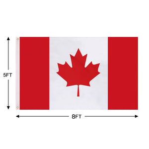 FLAGBURG Canada Flag 5x8 FT, Canadian Flag with Print Vivid Color and UV Fade Resistant, Canvas Header and Double Stitched,Outdoors Indoors Light-Weight Flags with Brass Grommets