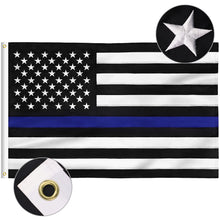 Load image into Gallery viewer, FLAGBURG Thin Blue Line Flag, Honoring Police Flag, Durable Law Enforcement Officers Flag with Embroidered Stars and Sewn Stripes,Outdoor Indoors Black Blue American Flag with Brass Grommets
