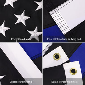 FLAGBURG Thin Blue Line Flag, Honoring Police Flag, Durable Law Enforcement Officers Flag with Embroidered Stars and Sewn Stripes,Outdoor Indoors Black Blue American Flag with Brass Grommets