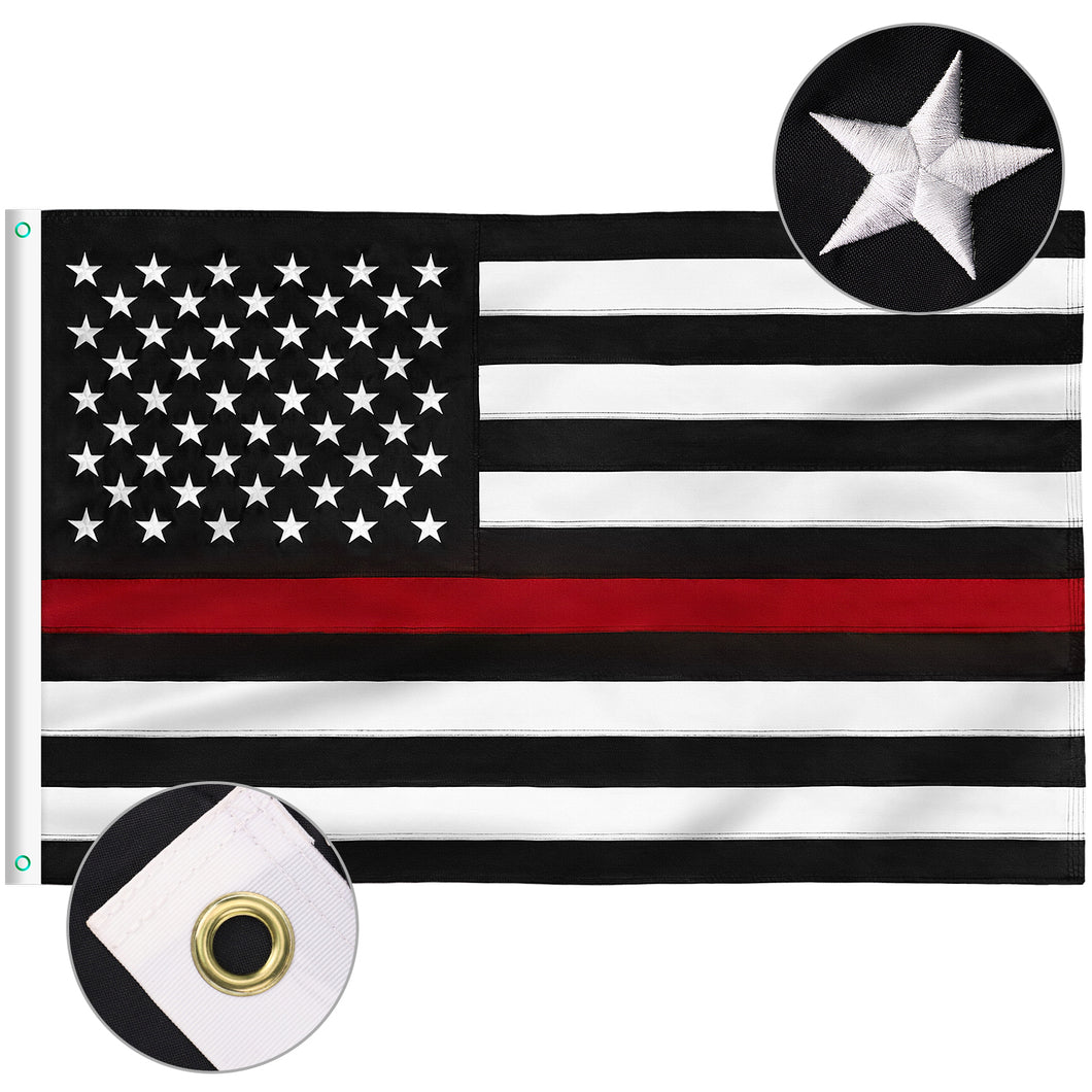 FLAGBURG Thin Red Line Flag, U.S. Flag with Thin Red Line  Durable 100% Recyclable Nylon Flag with Embroidered Stars and Sewn Stripes,Outdoor Indoors Firefighters Flags with Brass Grommets