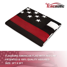 Load image into Gallery viewer, FLAGBURG Thin Red Line Flag, U.S. Flag with Thin Red Line  Durable 100% Recyclable Nylon Flag with Embroidered Stars and Sewn Stripes,Outdoor Indoors Firefighters Flags with Brass Grommets